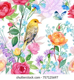 Seamless pattern watercolor.beautiful ornament of floral roses bird and butterfly