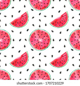 Seamless pattern watermelon, summer background, fruit print