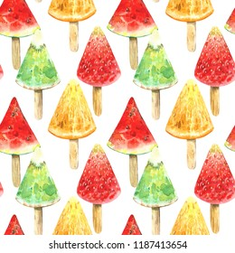 Seamless pattern of a watermelon,orange, kiwi and strawberries ice cream.Summer fruit picture.Watercolor hand drawn illustration.White background.