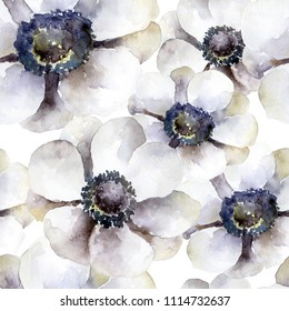 Seamless pattern with white anemones. Watercolor illustration