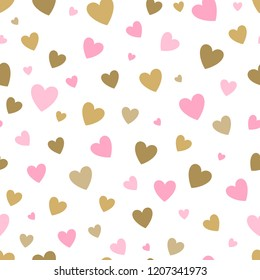 seamless pattern white background with pink and gold hearts. design for holiday greeting card and invitation of baby shower, birthday, wedding, Happy Valentine s day, and mother s day.