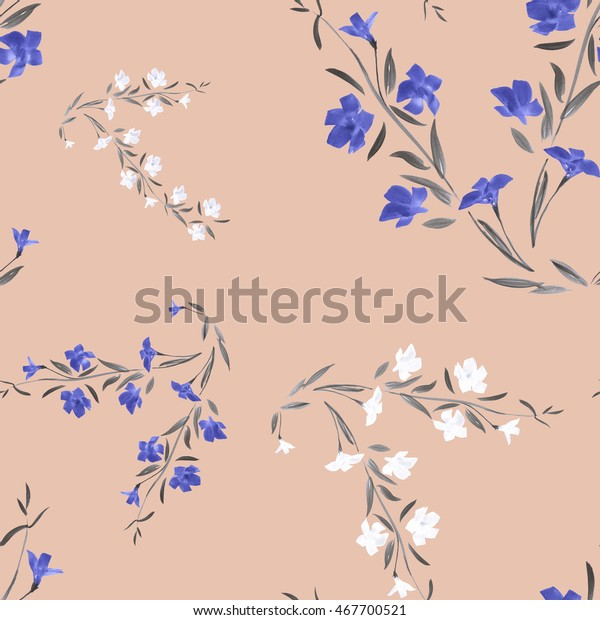 Seamless pattern of white and blue flowers on a pink background. Watercolor.