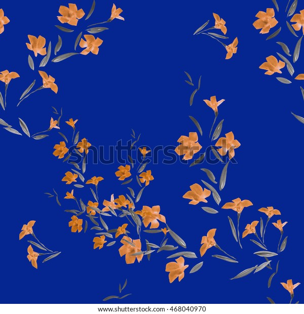 Seamless pattern of white flowers on a blue background. Watercolor.