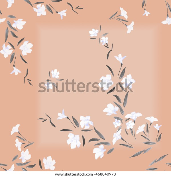 Seamless pattern of white flowers on a pink background with  geometric tracery. Watercolor.