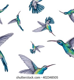 seamless pattern. white hummingbird. watercolor.This image can be used for postcards invitations flyers