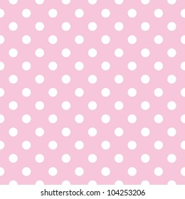 Seamless pattern with white polka dots on a tile pastel pink background