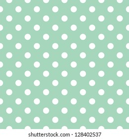 Seamless pattern with white polka dots on a retro vintage mint green background. For desktop wallpaper, web design, cards, invitations, wedding or baby shower albums, backgrounds, arts and scrapbooks