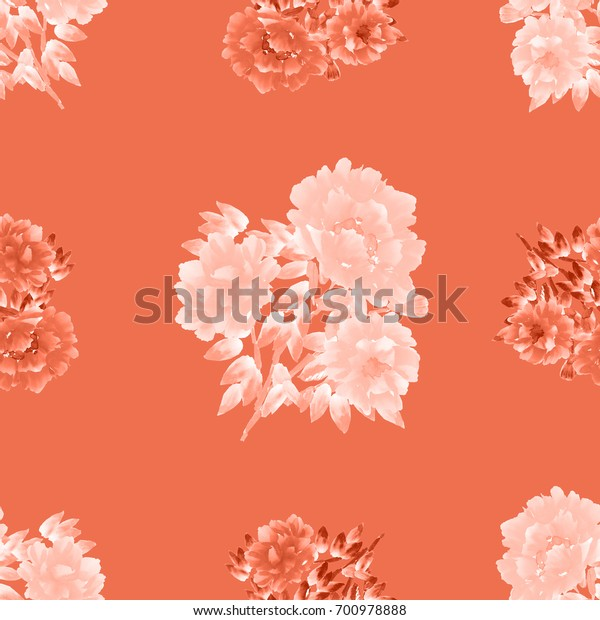 Seamless pattern of white and red flowers of peonies on a light red background. Watercolor