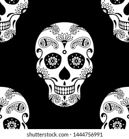 seamless pattern of white sugar skull with floral ethnic ornament on black background. Illustration for Mexican Day of the Dead