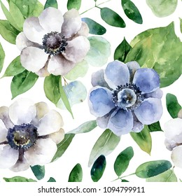 Seamless pattern with white and violet anemones. Watercolor illustration