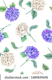 Seamless pattern with white and violet Hydrangea flowers and green leaves watercolor botanical illustration on a white background