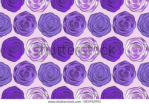 Seamless pattern in white, violet and purple colors. Watercolor floral image with white, violet and purple rose flowers.
