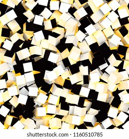 Seamless pattern of white, yellow and black colored cubes. 3d illustration