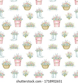 Seamless pattern with wicker baskets, buckets and rubber boots with spring flowers bouquet isolated on white background. Watercolor hand drawn illustration