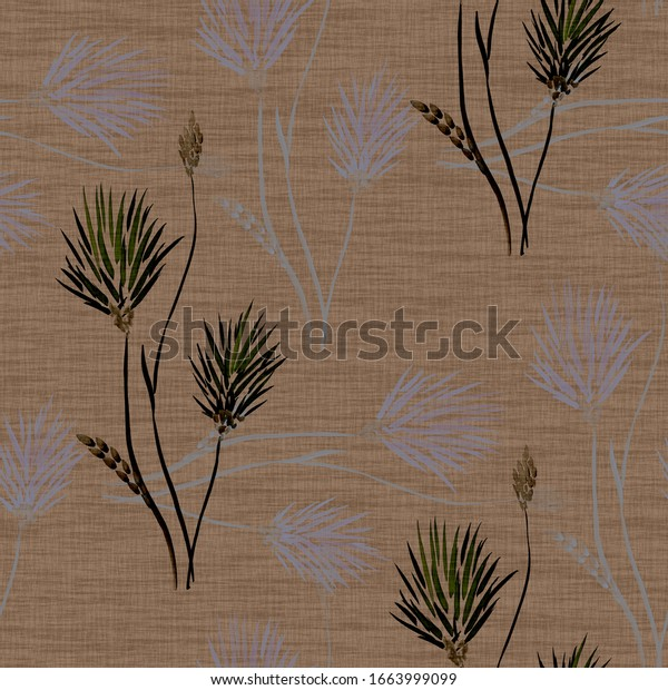 Seamless pattern of wild beige and blue flowers and bouquets on a dark beige background. Watercolor