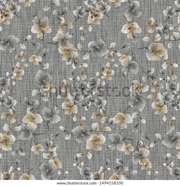 Seamless pattern of wild beige and  flowers on a gray background. Watercolor -5