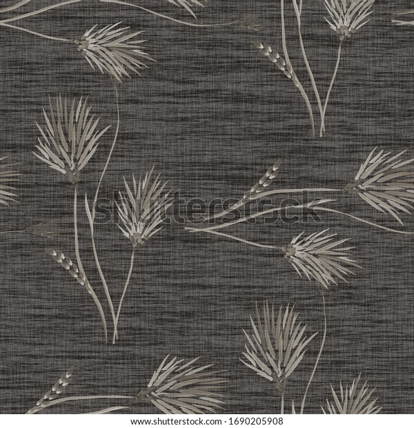 Seamless pattern of wild beige flowers on a dark gray background. Watercolor