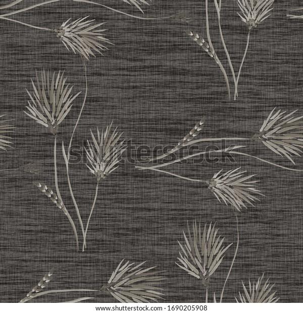 Seamless pattern of wild beige flowers on a dark gray background. Watercolor