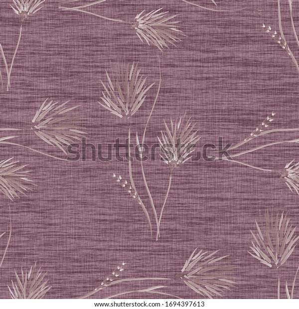 Seamless pattern of wild beige flowers on a dark pink background. Watercolor