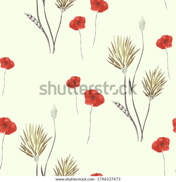 Seamless pattern of wild beige flowers and red poppies on a light green background. Watercolor