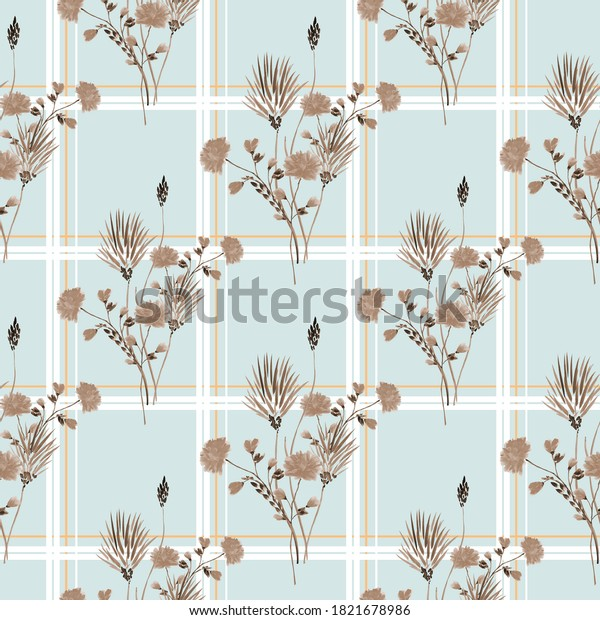 Seamless pattern of wild beige flowers in a white and orange cell on a light turquoise background. Watercolor