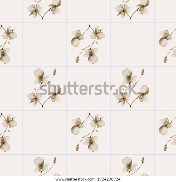 Seamless pattern of wild beige flowers on a light beige background with blue cell. Watercolor