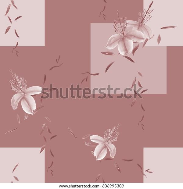Seamless pattern of wild beige flowers and branches on a deep pink  background with geometric figures. Watercolor