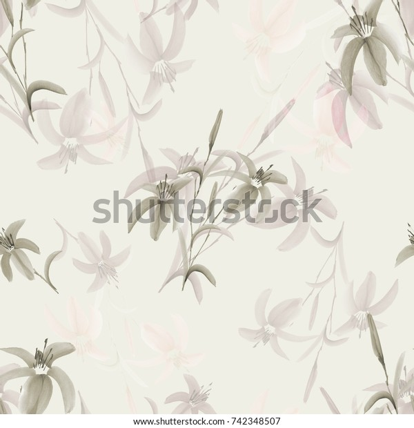 Seamless pattern of wild beige flowers on a light green background. Watercolor