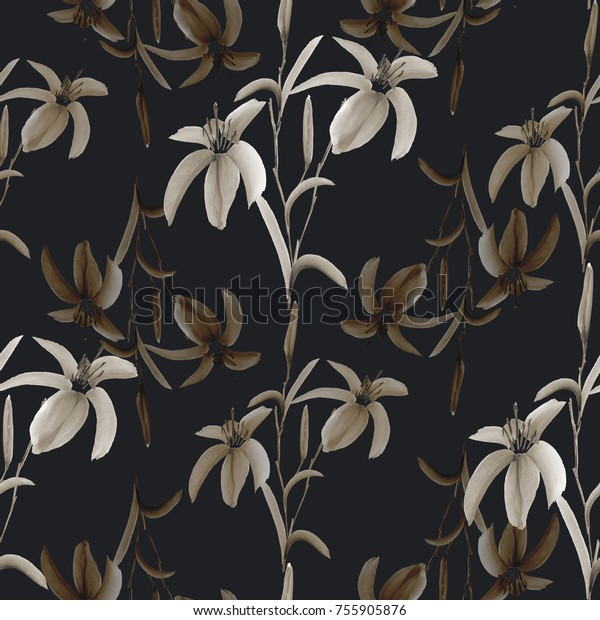 Seamless pattern of wild beige flowers on the black background. Watercolor