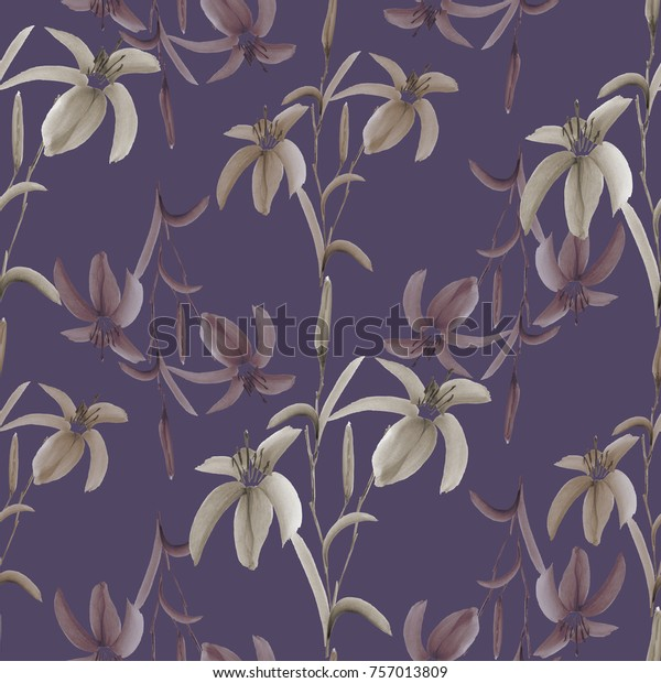 Seamless pattern of wild beige flowers on a deep violet background. Watercolor