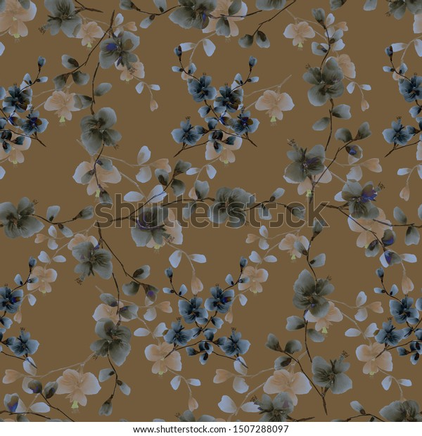 Seamless pattern of wild beige and gray flowers on a dark beige background. Watercolor -5
