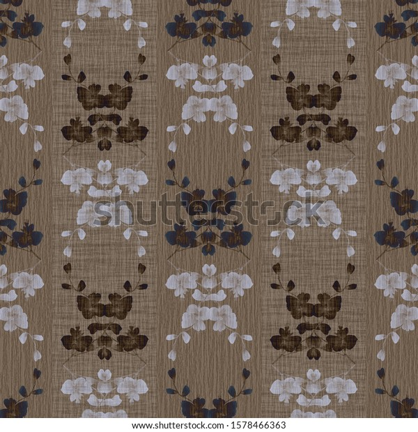 Seamless pattern of wild beige, gray flowers and bouquets on a chocolate  background with vertical stripes. Watercolor -9