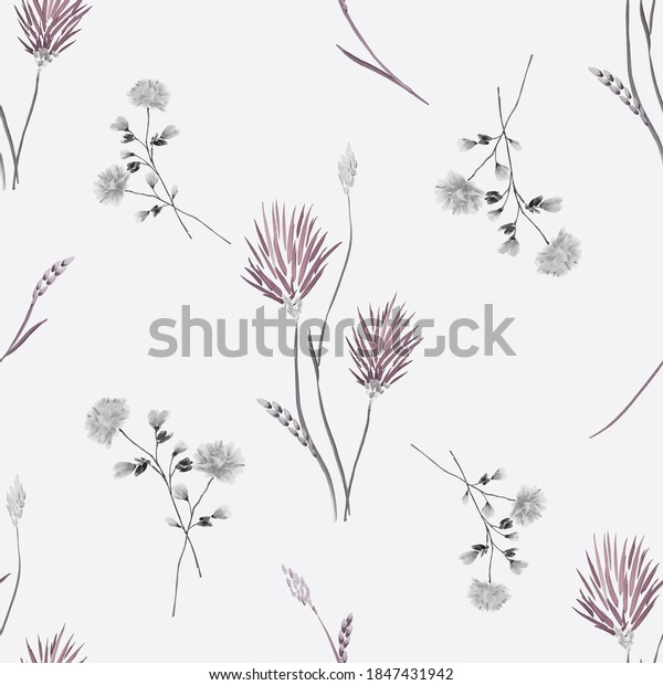 Seamless pattern of wild beige and gray flowers on a gray background. Watercolor -2