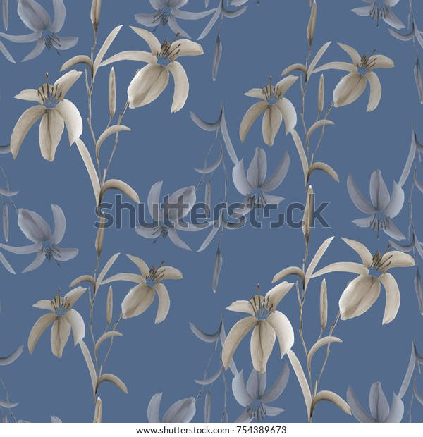 Seamless pattern of wild beige and gray flowers on a deep blue background. Watercolor