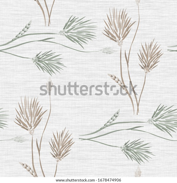 Seamless pattern of wild beige and green flowers on a linen light gray background. Watercolor