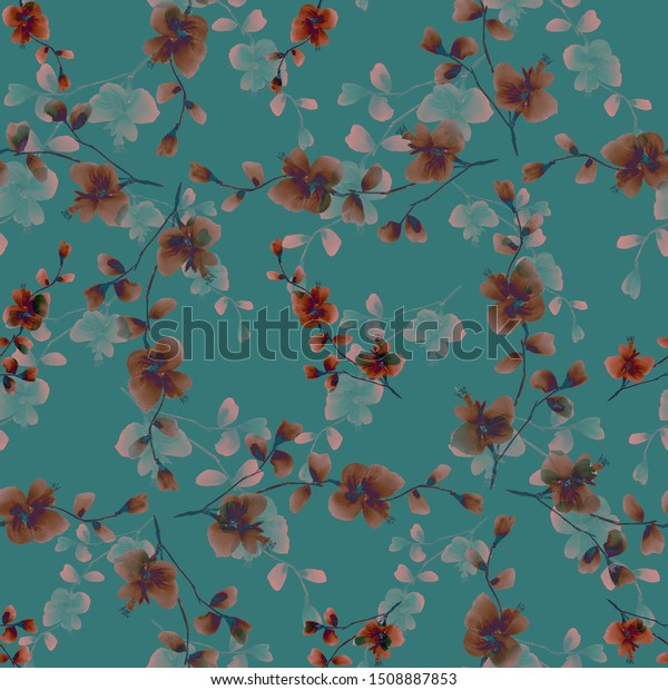Seamless pattern of wild beige and pink flowers on a dark turquoise background. Watercolor -5