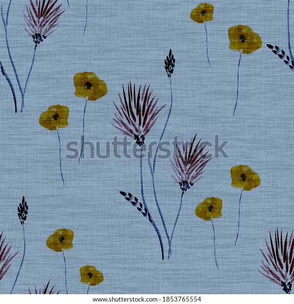 Seamless pattern wild  beige and pink flowers on a deep blue background. Watercolor