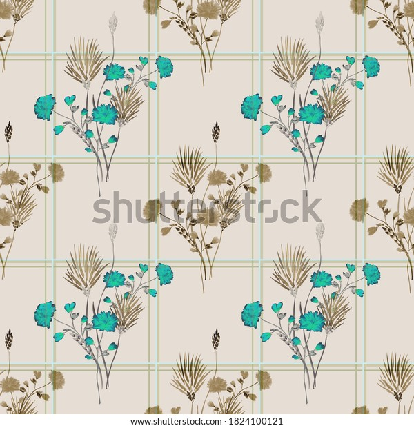 Seamless pattern of wild beige and turquoise flowers in a turquoise and green cell on a beige background. Watercolor