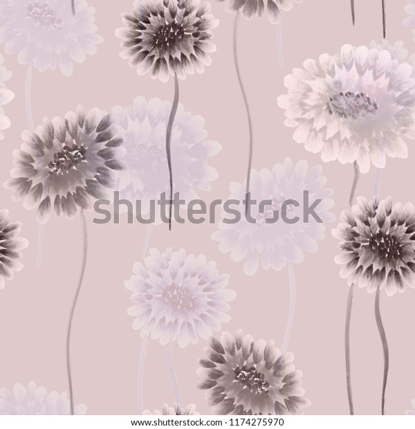 Seamless pattern of wild beige and violet flowers on a light pink background. Watercolor