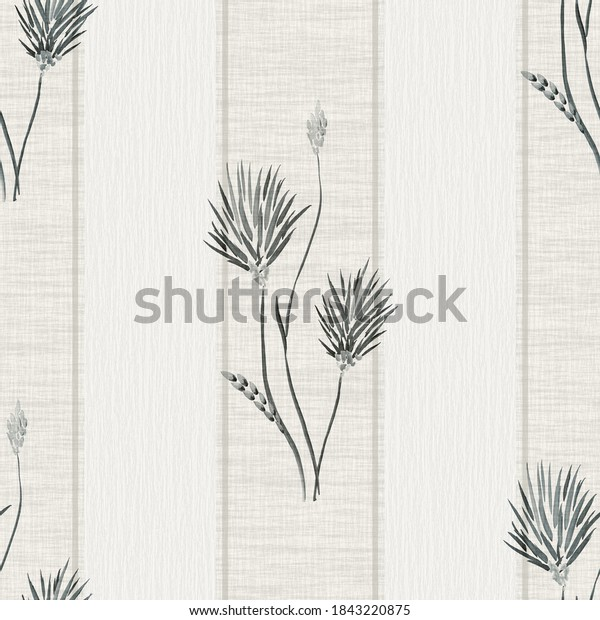 Seamless pattern of wild big dark flowers on a beige background with beige vertical stripes. Watercolor