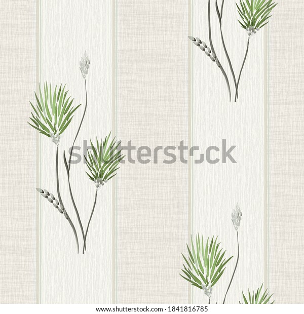 Seamless pattern of wild big green flowers on a beige background with vertical stripes. Watercolor