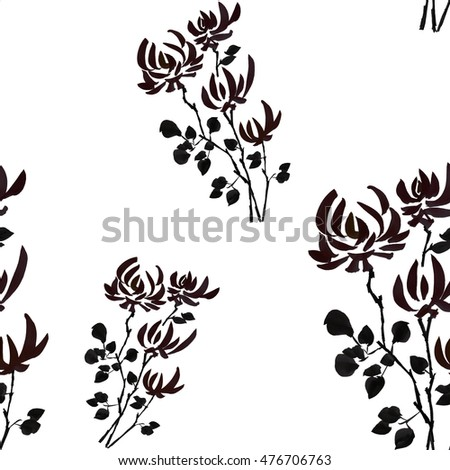 Seamless pattern wild black flowers on the white background. Watercolor.