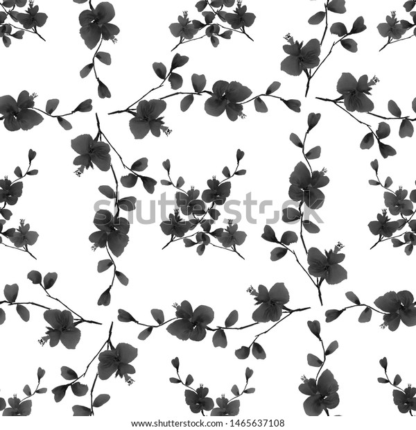 Seamless pattern wild black flowers and branches on a white background. Watercolor -5