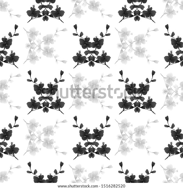 Seamless pattern of wild black and gray flowers and bouquets on a white background. Watercolor -8
