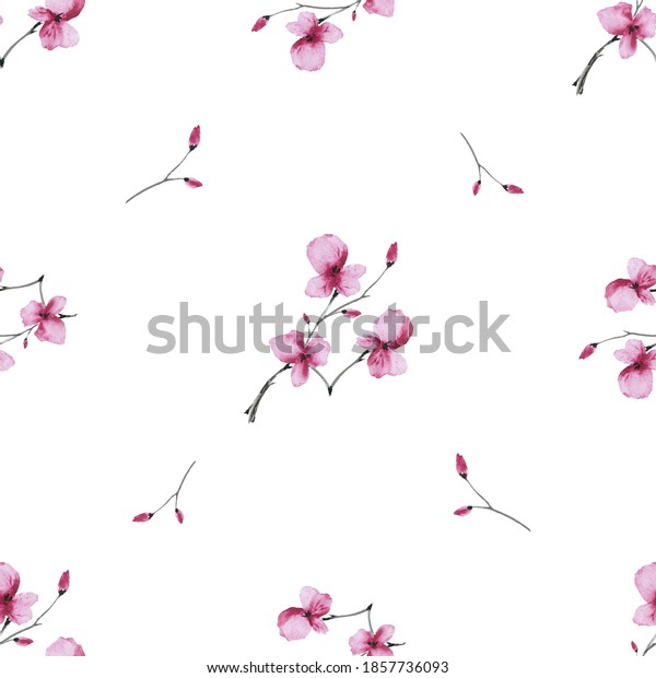 Seamless pattern wild blossoming branch with small pink flowers on a white background. Watercolor