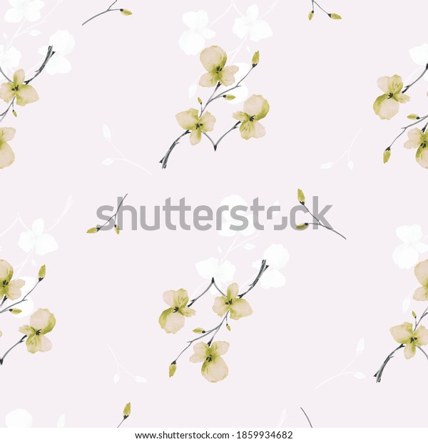 Seamless pattern wild blossoming branch with small green and white flowers on alight pink background. Watercolor