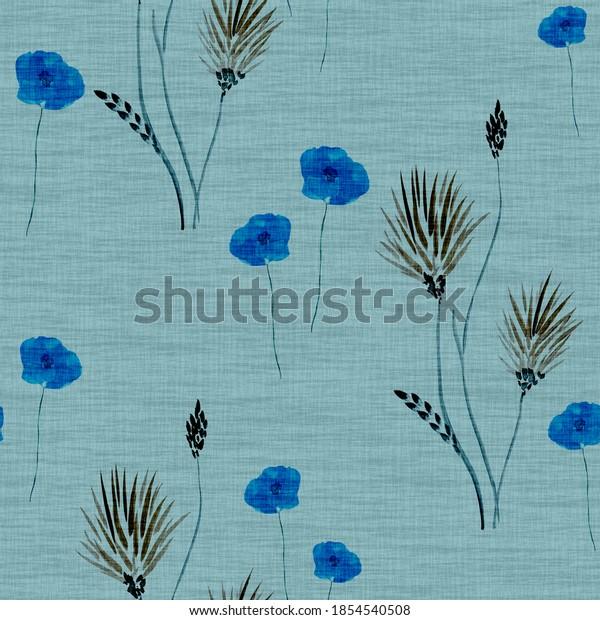 Seamless pattern wild  blue and beige flowers on a linen turquoise background. Watercolor