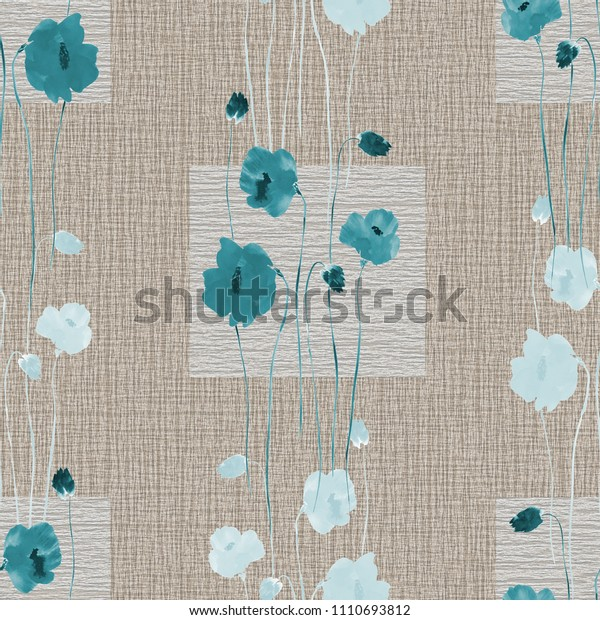 Seamless pattern of wild blue flowers on a beige background with squares. Watercolor