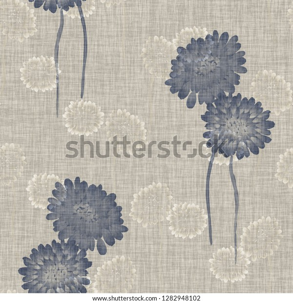 Seamless pattern of wild blue flowers on a light beige background. Watercolor