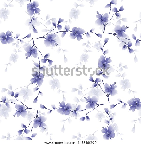Seamless pattern wild blue flowers and branches on a white background. Watercolor -5